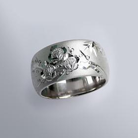 縁起物 銀製和彫り リング